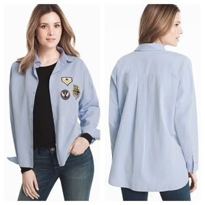 WHBM Pinpoint Patch Shirt in Summer Sky Size Small
